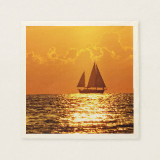 Sunset with Boat Paper Napkin