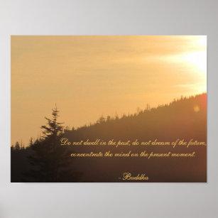 Sunset with Buddha Poster