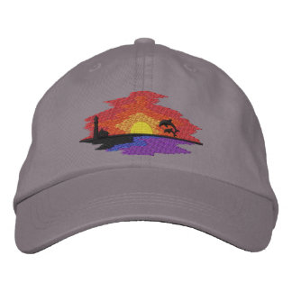 Sunset with Dolphins Embroidered Baseball Caps