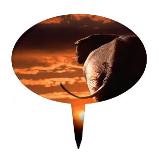 Sunset with Elephant Cake Topper