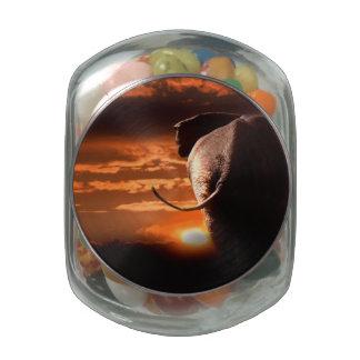 Sunset with Elephant Glass Jars
