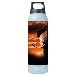 Sunset with Elephant Insulated Water Bottle
