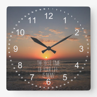 Sunset with Life Quote Square Wall Clock