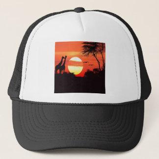 Sunset With Oiraffe Animals On Savanna Trucker Hat
