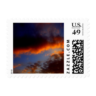 Sunset with Orange Clouds and Blue Sky Postage