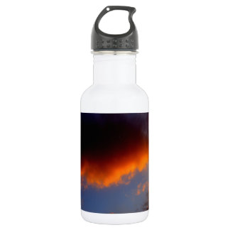 Sunset with Orange Clouds and Blue Sky Water Bottle