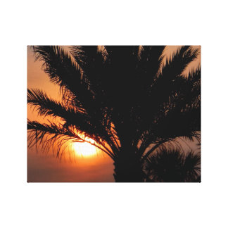 Sunset with palm tree canvas print