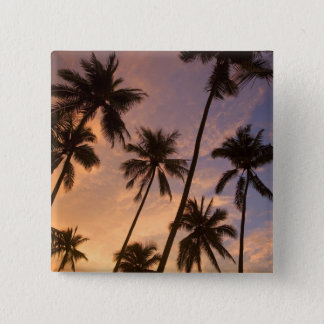 Sunset with Palm Trees, Moorea, French Polynesia 2 Pinback Button