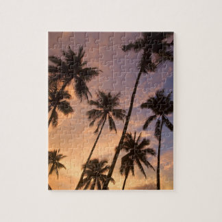 Sunset with Palm Trees, Moorea, French Polynesia 2 Puzzle