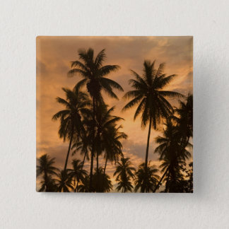 Sunset with Palm Trees, Moorea, French Polynesia Pinback Button