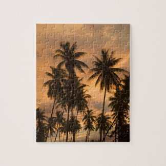 Sunset with Palm Trees, Moorea, French Polynesia Puzzle