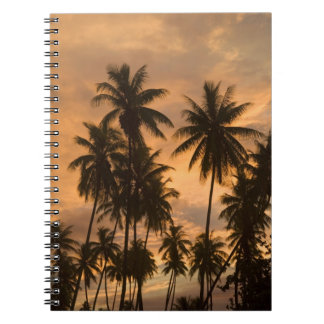 Sunset with Palm Trees, Moorea, French Polynesia Spiral Notebook