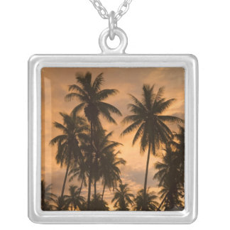 Sunset with Palm Trees, Moorea, French Polynesia Square Pendant Necklace