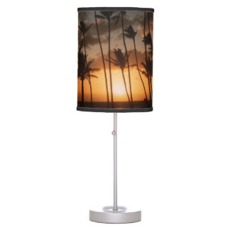 Sunset With Palm Trees Table Lamp