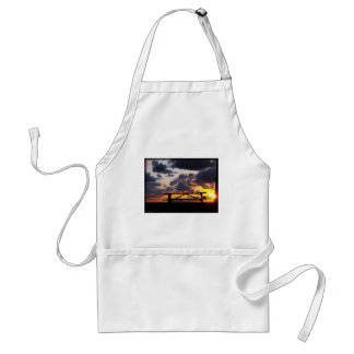 Sunset with Picnic Table Adult Apron