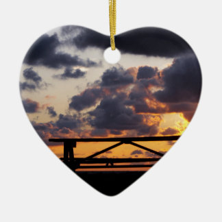 Sunset with Picnic Table Ceramic Ornament