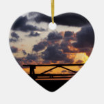 Sunset with Picnic Table Double-Sided Heart Ceramic Christmas Ornament
