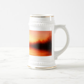 Sunset with Pinks, Reds and Oranges over Water Beer Stein