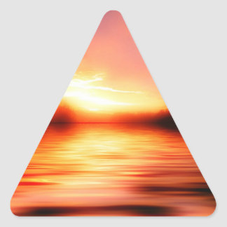 Sunset with Pinks, Reds and Oranges over Water Triangle Sticker