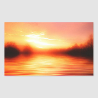 Sunset with Pinks, Reds and Oranges over Water Rectangular Sticker