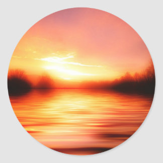 Sunset with Pinks, Reds and Oranges over Water Classic Round Sticker