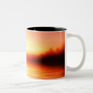 Sunset with Pinks, Reds and Oranges over Water Two-Tone Coffee Mug