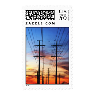 Sunset with power lines postage