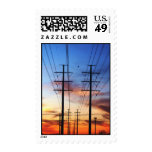 Sunset with power lines postage stamp