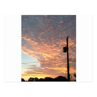 Sunset with powerline postcard