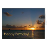 Sunset with Sailboats Birthday (Blank Inside) Greeting Card