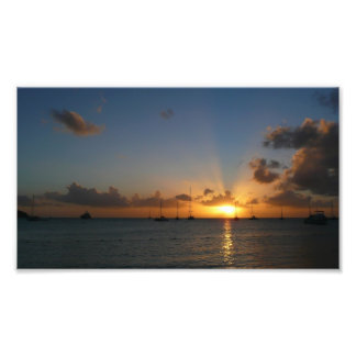 Sunset with Sailboats Photo Print