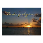 "Sunset with Sailboats ""Thinking of You"" Greeting Card"