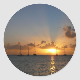 Sunset with Sailboats Tropical Landscape Photo Classic Round Sticker