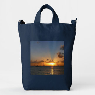 Sunset with Sailboats Tropical Landscape Photo Duck Bag