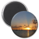 Sunset with Sailboats Tropical Landscape Photo Magnet