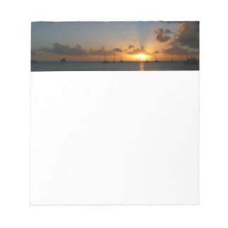 Sunset with Sailboats Tropical Landscape Photo Notepad