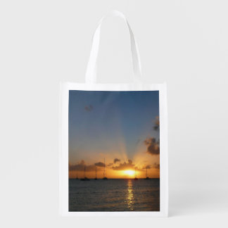 Sunset with Sailboats Tropical Landscape Photo Reusable Grocery Bag