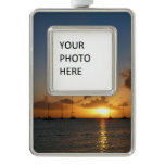 Sunset with Sailboats Tropical Landscape Photo Silver Plated Framed Ornament
