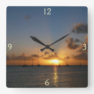 Sunset with Sailboats Tropical Landscape Photo Square Wall Clock