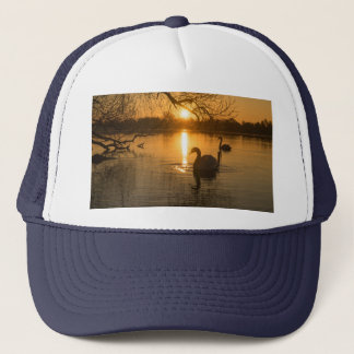 Sunset with Swan Trucker Hat