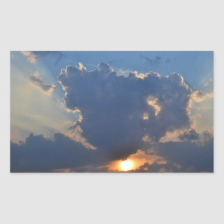 Sunset with Teacup Cloud Formation Rectangular Sticker