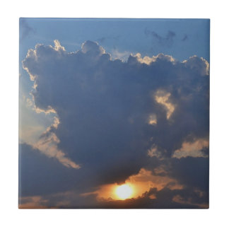 Sunset With Teacup Cloud Formation Tile