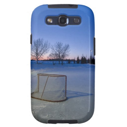 Sunset With Vacant Pond Hockey Rink Samsung Galaxy S3 Cases