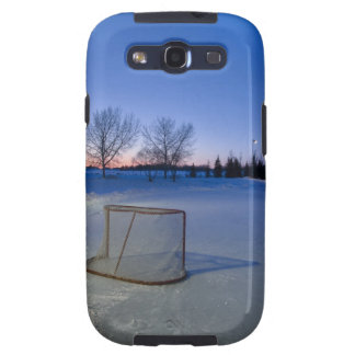 Sunset With Vacant Pond Hockey Rink Galaxy S3 Cases