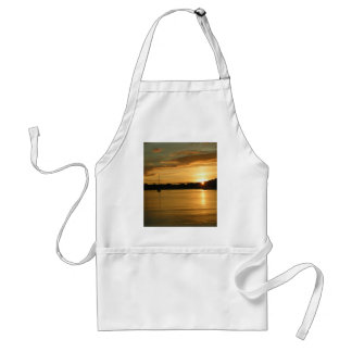 Sunset with yacht adult apron