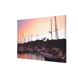 Sunset With Yachts Canvas Print