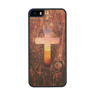 Sunset wood cross carved® maple iPhone 5 case