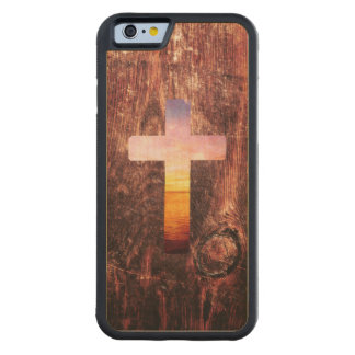 Sunset wood cross carved maple iPhone 6 bumper case