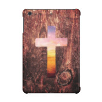 Sunset wood cross iPad mini cover