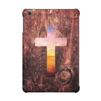 Sunset wood cross iPad mini cover